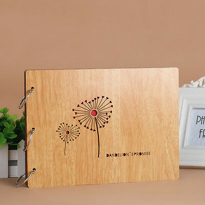 DIY 30Pages 27.3x19.8cm Beige Wood Cover 3 Rings Photo Album Scrapbook DANDELION