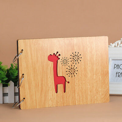 DIY 30Page 27.3x19.8cm Beige Wood Cover 3 Rings Photo Album Scrapbook Giraffine