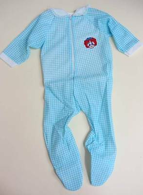 vintage baby playsuit sleepsuit age 3 months large doll red blue gingham 50's
