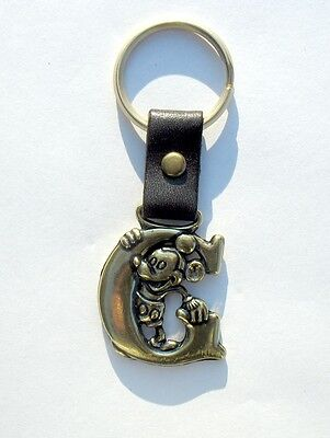 Vintage Disney Mickey Mouse Brass Keychain key chain ring with leather letter G