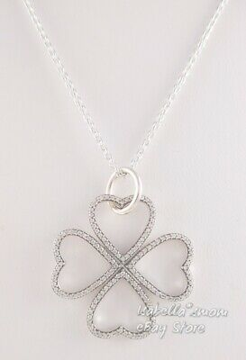 e1c1cca87 PETALS OF LOVE NECKLACE Authentic PANDORA Clover PENDANT & CHAIN 390381CZ-90  NEW