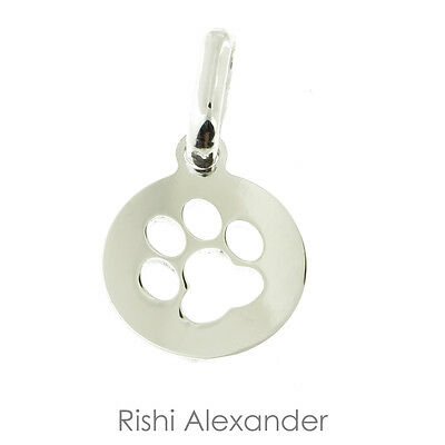 925 Sterling Silver Puppy Dog Paw Print Pendant or Necklace