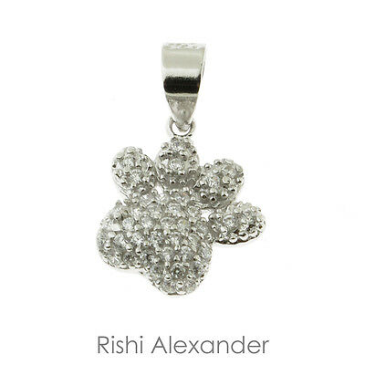 925 Sterling Silver Puppy Dog Micro Pave Paw Pendant or Necklace