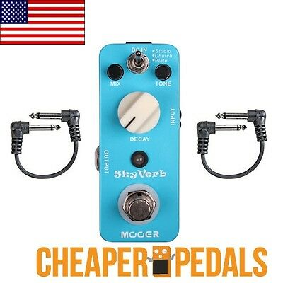 NEW MOOER SKYVERB SKY VERB REVERB Pedal + 2 *Free* Patch Cables!