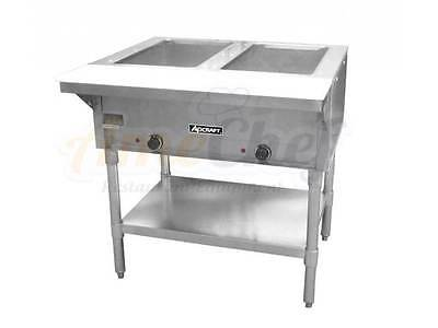 2 Bay Open Well Steam Table, Electric Stainless Steel, Adcraft ST-120/2