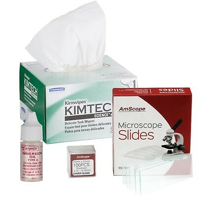 AmScope Microscope Type A Immersion Oil, Kimwipes, 72 Slides  and 100 Coverslips