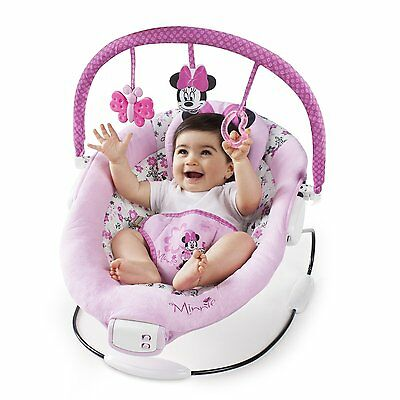 Disney Minnie Mouse Garden Delights Vibrating Baby Bouncer Chair With Melodies..