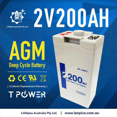 Brand New 2V 200AH AGM Sealed Deep Cycle Solar Battery Long Service Life 12-Year