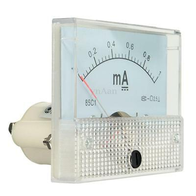 DC 0-1mA Analog Amp Meter Ammeter Amperemeter Current Panel with Screws White
