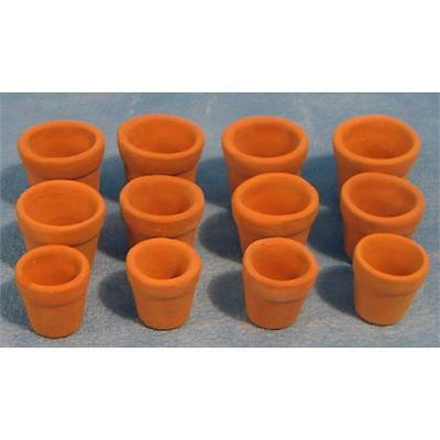 12th Scale Dolls house Clay Flower Pots x 12 D2244