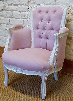 A Vintage French Louis XV Upholstered Bergere Armchair / Bedroom Chair • £240.00