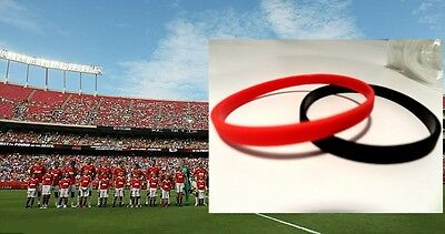 Football Wristbands - SHOW YOUR COLOURS - MAN U United RED BLACK Cool thin bands