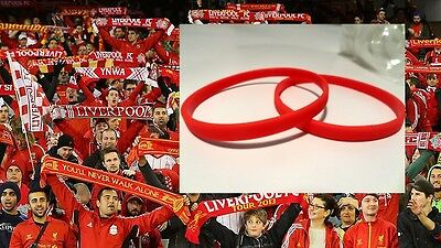 Football Wristbands - SHOW YOUR COLOURS - LIVERPOOL RED Cool thin bands NEW