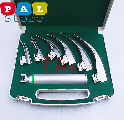 Conventional LED Laryngoscope Macintosh Set With 6 Blades +  Handle.