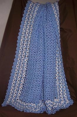 NeW BLUE Soft & PRETTY Hand Crochet Large Baby Blanket Afghan With White