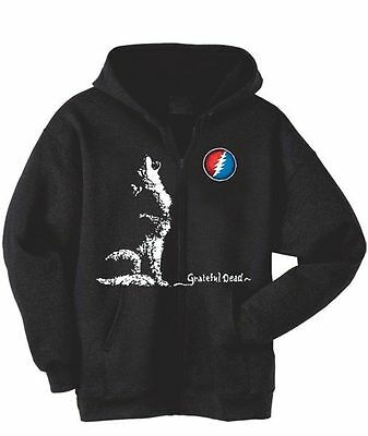 Grateful Dead Dire Wolf Lightning Bolt Moon Zipper Hoodie LICENSED