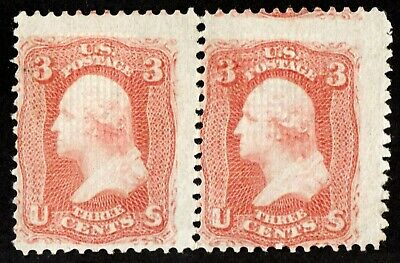 "US Sc# 94 *MINT OG H* { STRONG ""F GRILL } PAIR OF 1867 SERIES ""SCARCE CV$ 750.00"