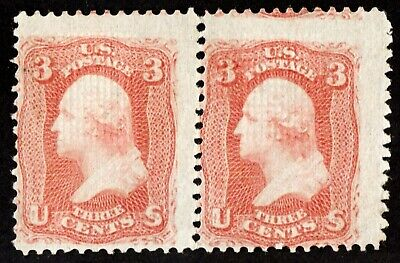 """US Sc# 94 *MINT OG H* { STRONG """"F GRILL } PAIR OF 1867 SERIES """"SCARCE CV$ 750.00"""