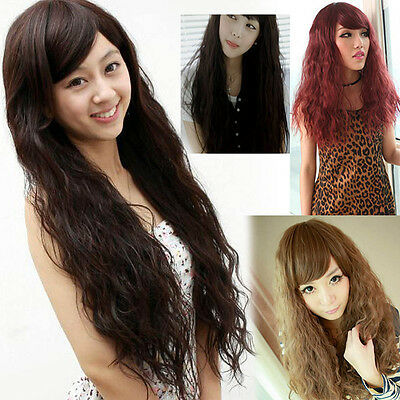 New Women Corn Perm Fluffy Long Curly Hair Oblique Bangs Cosplay Party Wig