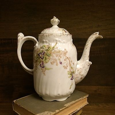 Limoges, France,Tea Pot,Coffee Pot, Late 1800s, Orchid, Gold, hand painted