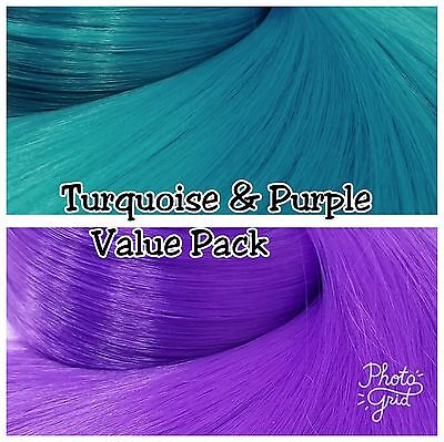 Lilac /& Turquoise Blue XL 2 Color Value Pak Nylon Doll Hair Rerooting Dolls Pony