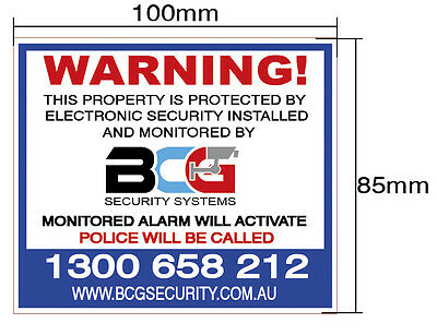 5 Pack, Alarm, CCTV, Security System Stickers. High Quality Safe Warning Label