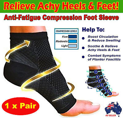 Compression Foot Ankle Socks Sleeves Plantar Fasciitis Heel Sore Achy Swelling
