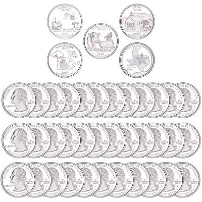 2004 S State Quarter Roll Gem Deep Cameo 90% Silver Proof 40 US Coins