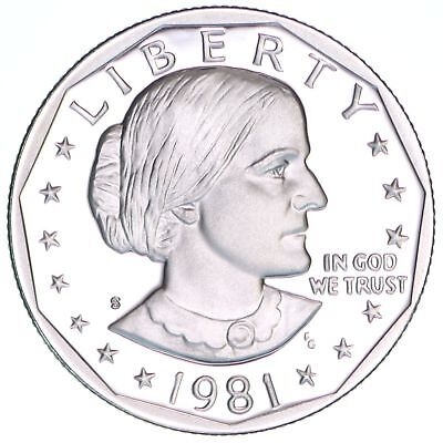 1981 S Susan B. Anthony Dollar Type 2 Gem Deep Cameo Proof CN-Clad US Coin