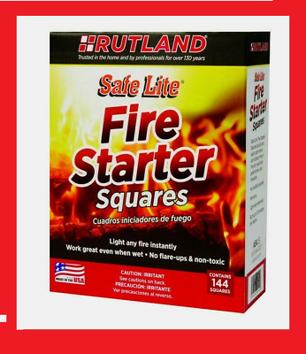 50B RUTLAND 144 Safe Lite Fire Starter Fireplaces Charcoal BBQs Stoves Campfires