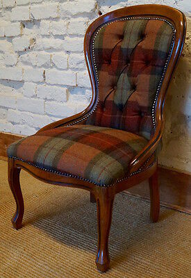 A mid 20th Century Antique Occasional Chair in Tartan Fabric
