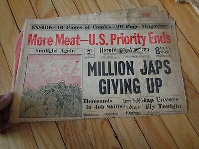 Chicago Herald American Newspaper WWII August 18 1945 Million Japanese Giving Up