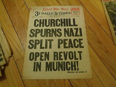 Chicago Daily Times Newspaper WWII April 28 1945 Churchill Spurns German Split