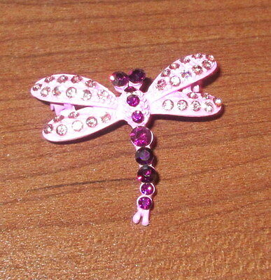 Purple DRAGONFLY Pin Brooch Crystal Accents Dragonflies Lilac Lavender New