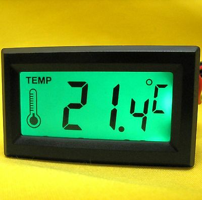 Temperature Meter 5V dc Digital LCD Panel Thermometer Probe Sensor Green CPU