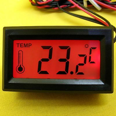 Temperature Meter 5V dc Digital LCD Panel Thermometer Probe Sensor Red CPU