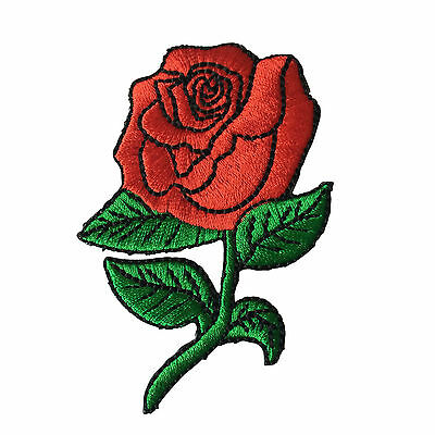 Embroidered Red Rose Iron on Sew on Patch Badge