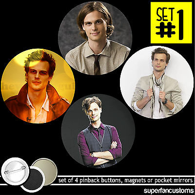Matthew Gray Gubler SET OF 4 BUTTONS or MAGNETS or MIRRORS Criminal Minds #1272