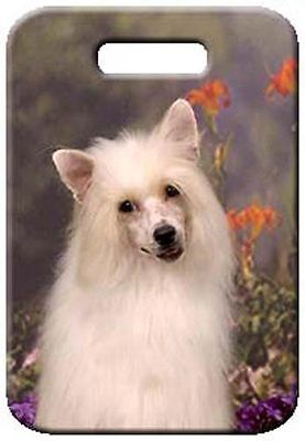 Set of 2 Chinese Crested - Powder Puff Luggage Tags