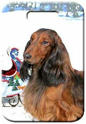Set of 2 Dachshund - Longhaired Luggage Tags