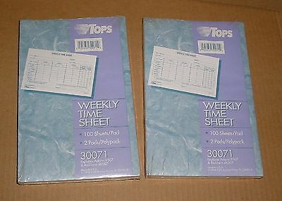 TOPS Weekly Time Sheet Forms - TOP30071   4 Pads  (400 Forms Total)