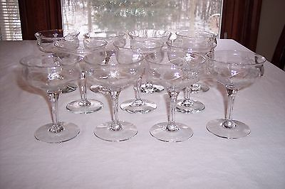 Lot of 11 Tiffin Adam Etched Flower Basket Champagne/Tall Sherbets