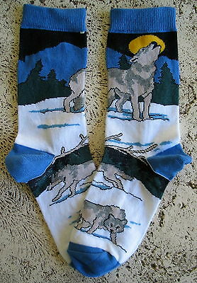 New Wild Habitat Ladies Socks Wildlife Wolf Timberwolves & Moon Collectible