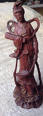 Antique Chinese Red Wood Carved Fairy Goddess Immortal kwan-yin Mint Exquisite
