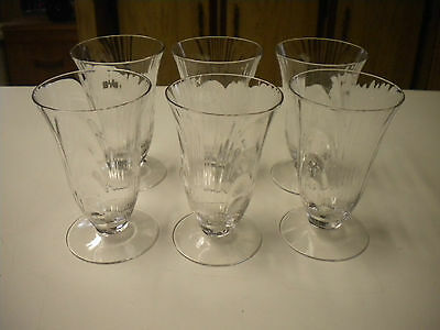 6) Vintage Cambridge Clear Caprice Juice Glasses, 4 1/8 in. Tall
