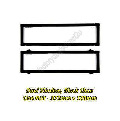 Number Plate Covers Dual Slimline Black Clear One Pair 6VSNL Lifetime Warranty