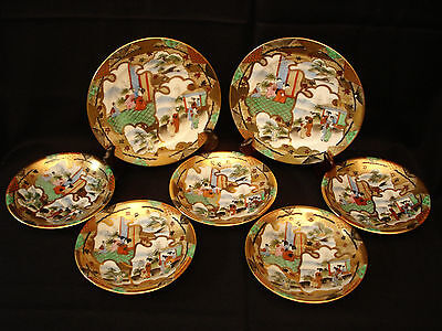 MARKED Rei JAPANESE TAISHO PERIOD SATSUMA PLATE SET / 7