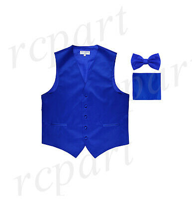 New Men's royal blue formal vest Tuxedo Waistcoat_bowtie & hankie set wedding