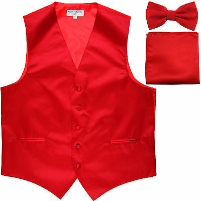 New Men's Red formal vest Tuxedo Waistcoat_bowtie & hankie set wedding prom