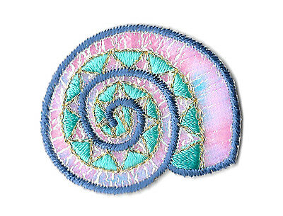 Seashell - Beach - Summer - Tropical - Embroidered Iron On Applique Patch - B